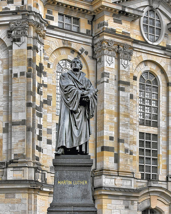 Martin Luther Poster featuring the photograph Martin Luther Monument Dresden by Christine Till