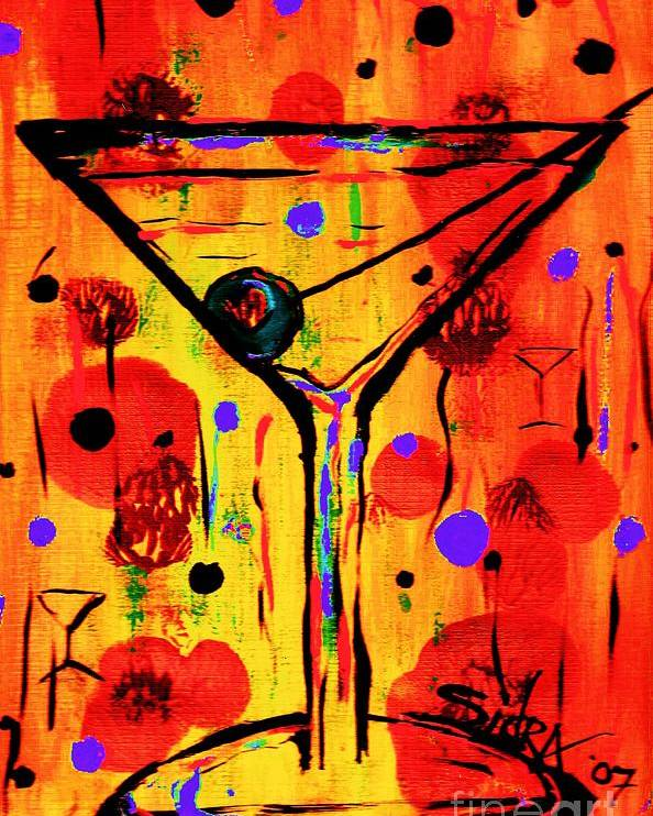 Martini Poster featuring the painting Martini Twentyfive Of Sidzart Pop Art Collection by Sidra Myers
