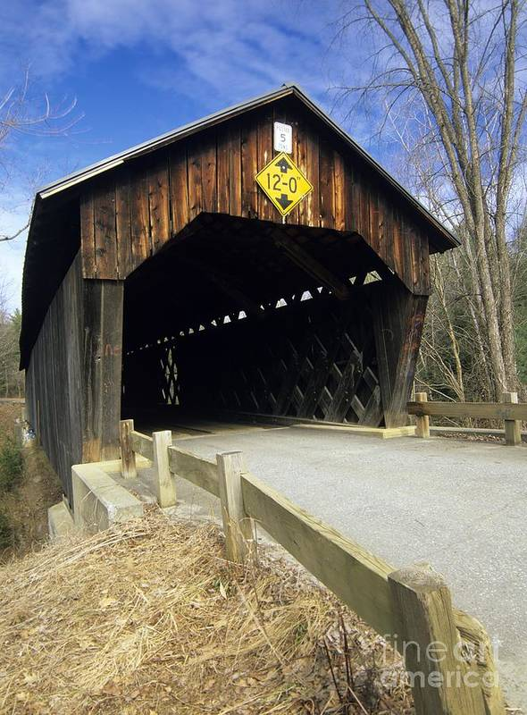 Bridge Poster featuring the photograph Martinsville Covered Bridge- Hartland Vermont Usa by Erin Paul Donovan