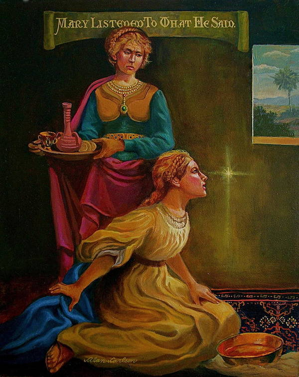 Mary And Martha Bible Story Poster featuring the painting Mary And Martha by Alan Carlson