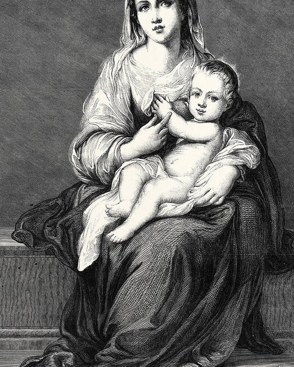 Virgin And Child Poster featuring the drawing Mary With The Child Jesus by German School