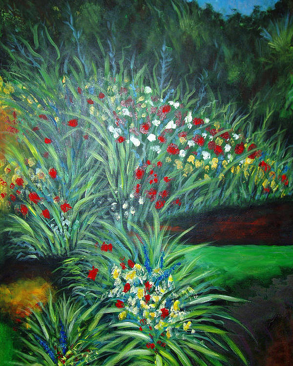 Landscape Poster featuring the painting Maryann's Garden 3 by Nancy Mueller
