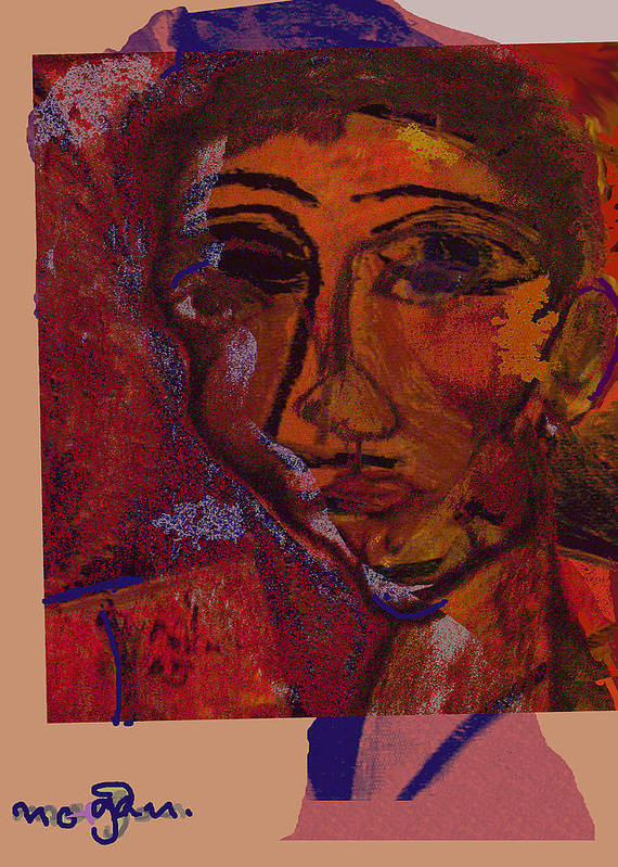 Portrait Poster featuring the painting Mask 14 by Noredin Morgan
