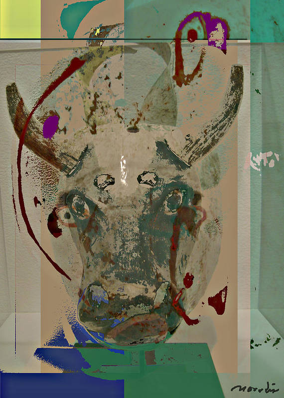 Abstraction Poster featuring the mixed media Mask 21 by Noredin Morgan