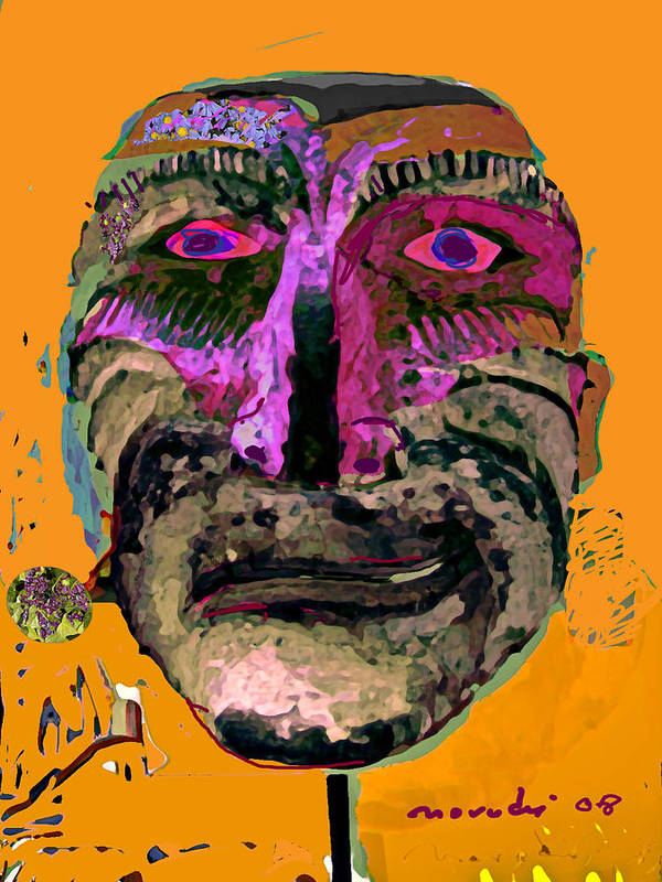 Mask Poster featuring the painting Mask 7 by Noredin Morgan