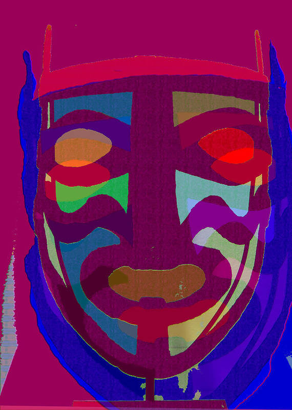 Mask Poster featuring the painting Mask8 by Noredin Morgan