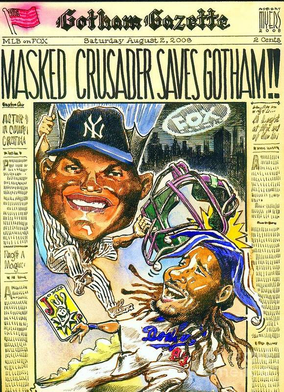 Baseball Poster featuring the painting Masked Crusader by Robert Myers