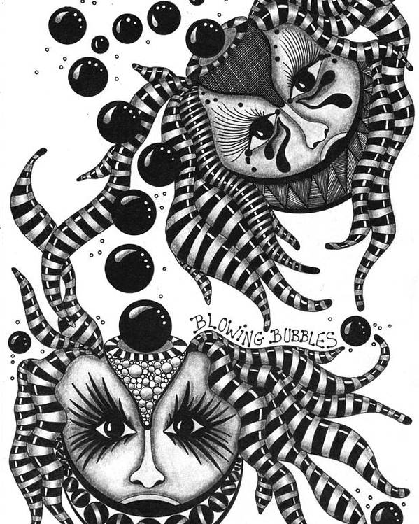 Pen Poster featuring the drawing Masks Blowing Bubbles by Cathy Nestroyl