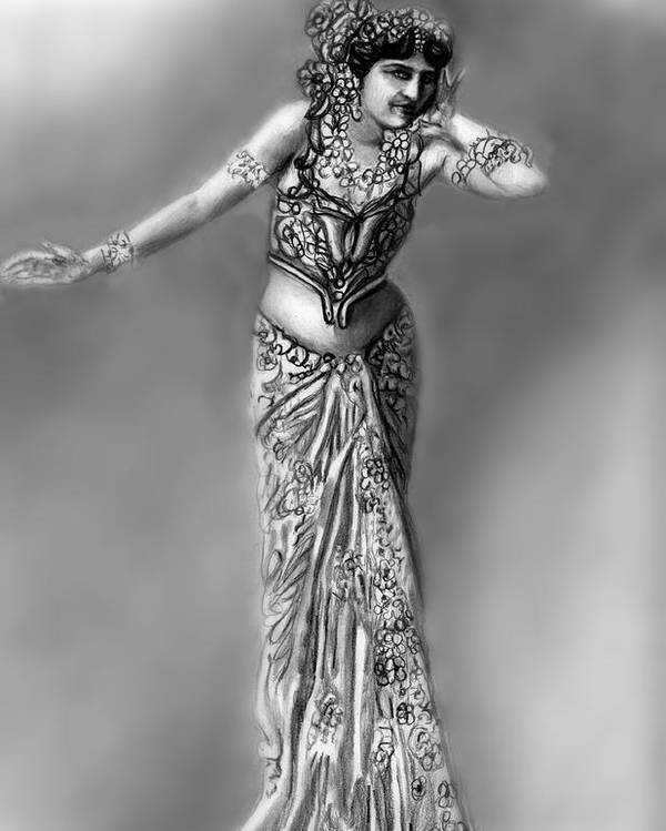Spy Poster featuring the drawing Mata Hari by Carliss Mora