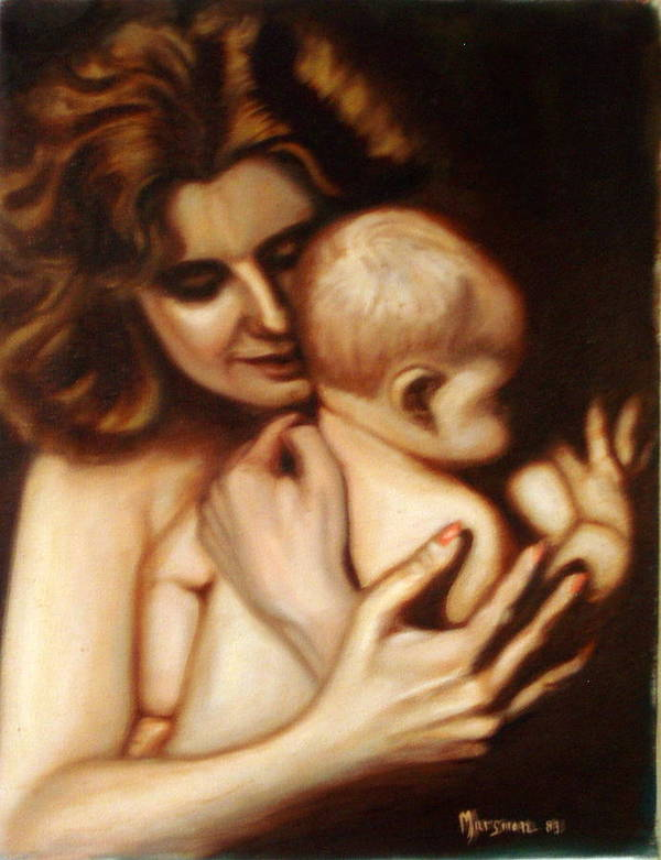 Portrait Poster featuring the painting Maternal Love by Lia Marsman