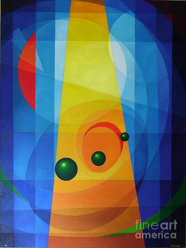 Geometric Abstract Poster featuring the painting Maternity by Alberto DAssumpcao