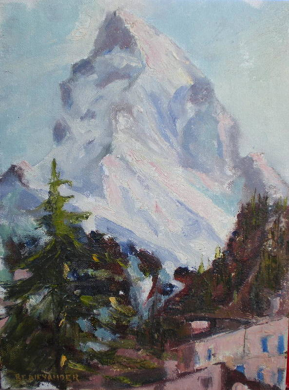 Switzerland Historic Climbing Mountain Poster featuring the painting Matterhorn At 8 Pm by Bryan Alexander