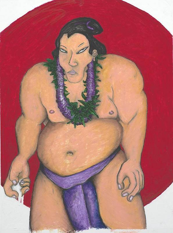 Sumo Poster featuring the painting Maui Sumo by Billy Knows