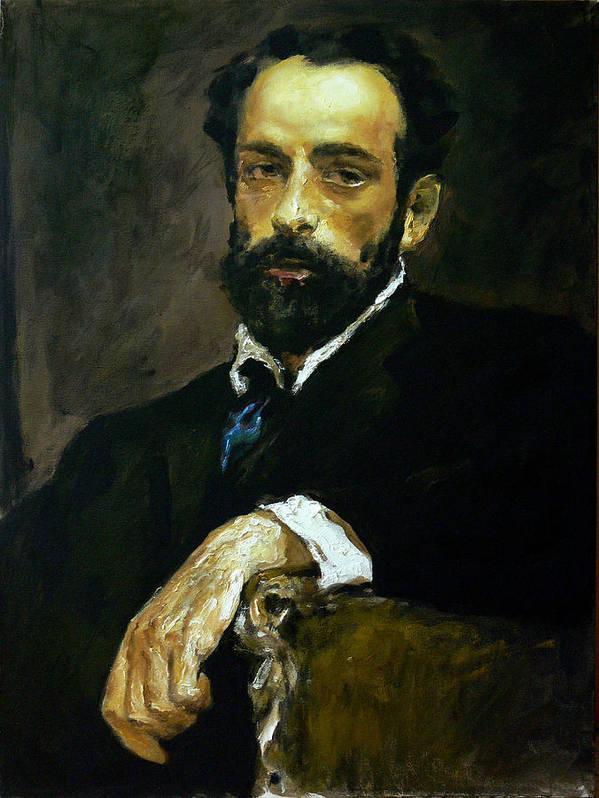 Man Poster featuring the painting mavloVserov by Valeriy Mavlo