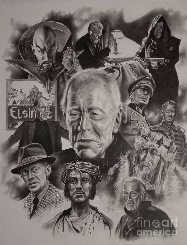 Max Von Sydow Poster featuring the drawing Max Von Sydow by James Rodgers