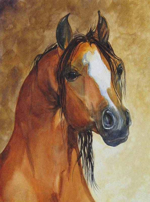 Eqine Poster featuring the painting May I Have One Too Please by Gina Hall