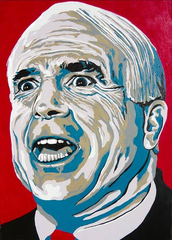 Politics Poster featuring the painting Mccain by Dennis McCann