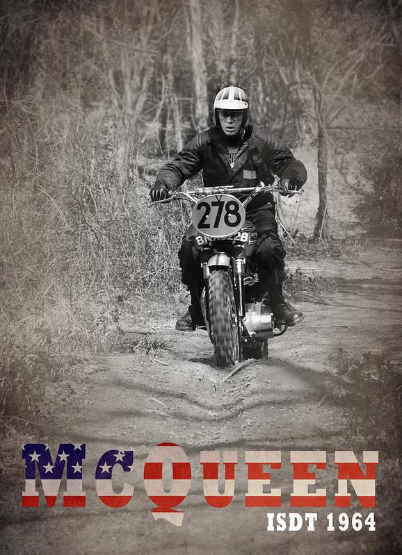 Steve Mcqueen Poster featuring the photograph Mcqueen Isdt 1964 by Mark Rogan
