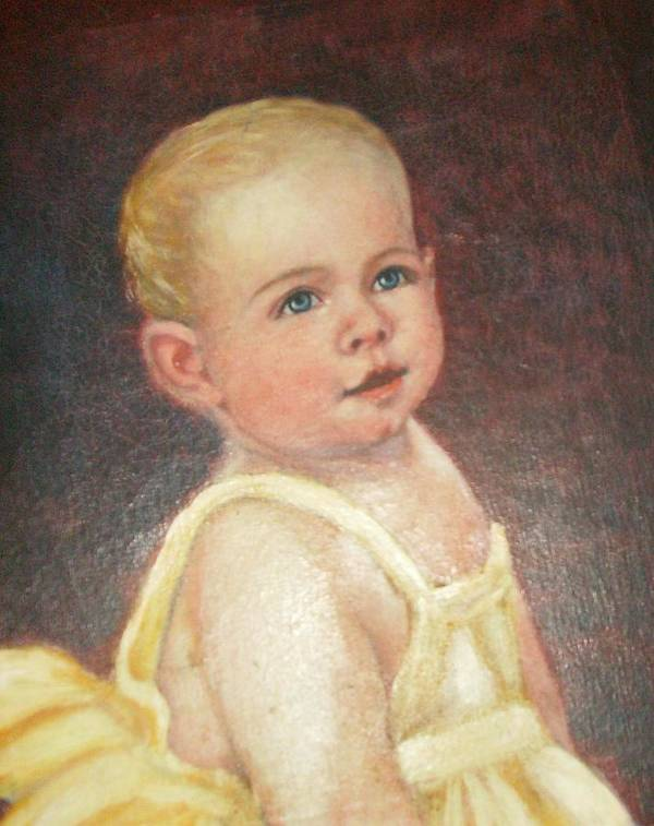 Babygirlcuteblondhair Poster featuring the painting Me 2 by Anne-Elizabeth Whiteway