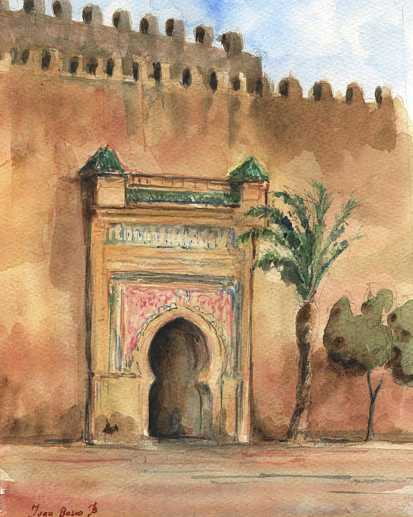 Morocco Art Poster featuring the painting Medina Morocco, by Juan Bosco