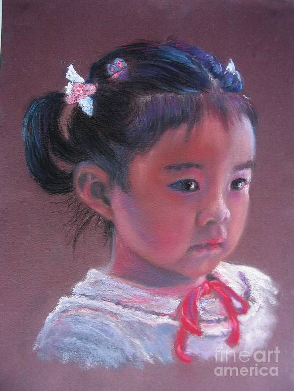 Girl Poster featuring the painting Mei Lan Beautiful Orchid by Shirley Leswick