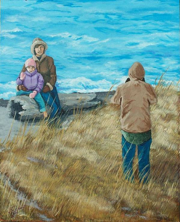 Ocean Scape Poster featuring the painting Memories Of Ocean Shores by Gene Ritchhart