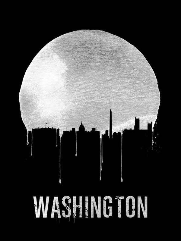 Washington Poster featuring the digital art Memphis Skyline Black by Naxart Studio