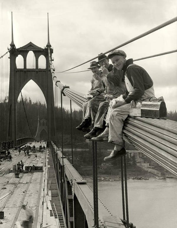 St. John's Bridge Poster featuring the photograph Men On Bridge by Ray Atkeson