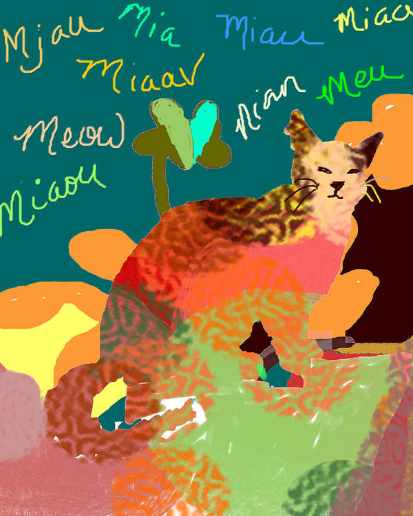 Nursery Art Poster featuring the digital art Meow by Holly McGee