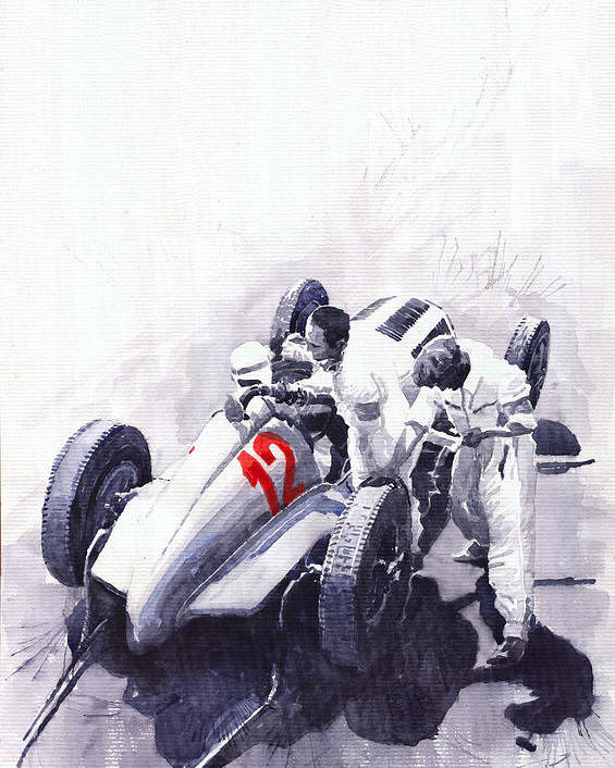 Automotive Poster featuring the painting Mercedes Benz W125 Rudolf Caracciola The German Grand Prix Nurburgring 1937 by Yuriy Shevchuk