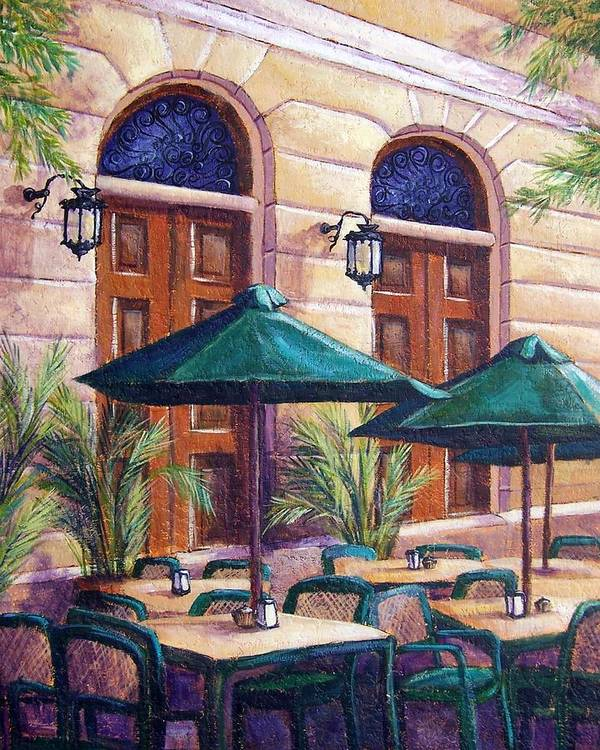 Cityscape Poster featuring the painting Merida Cafe by Candy Mayer