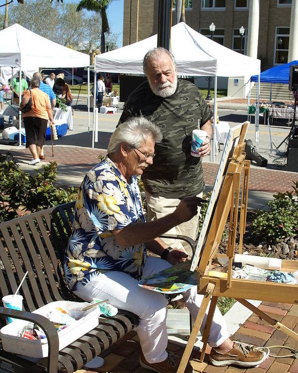 Artists Working Poster featuring the photograph Merle Hummell Watches Me Paint by Charles Peck