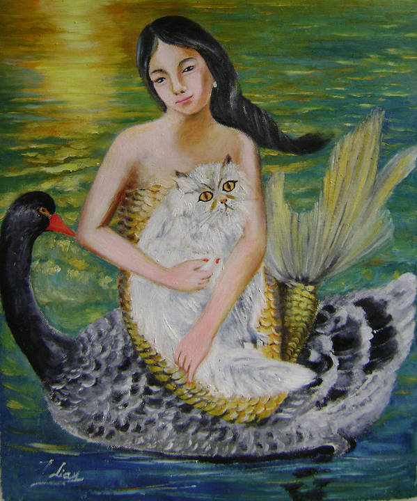 Surrealist Poster featuring the painting Mermaid And Swan by Lian Zhen