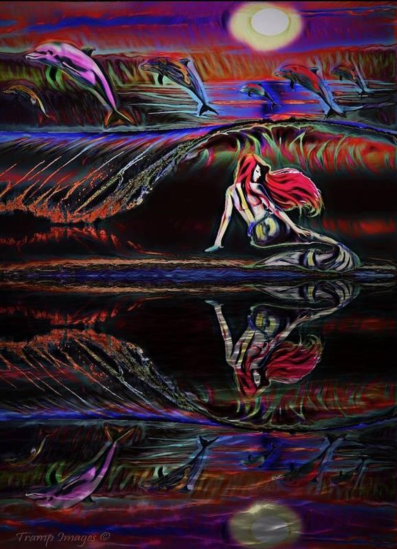 Poster featuring the digital art Mermaid Daydream by Wesley Nesbitt