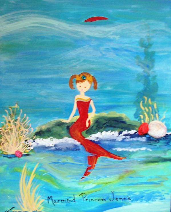 Mermaid Poster featuring the painting Mermaid Jenna by Sandi Stonebraker