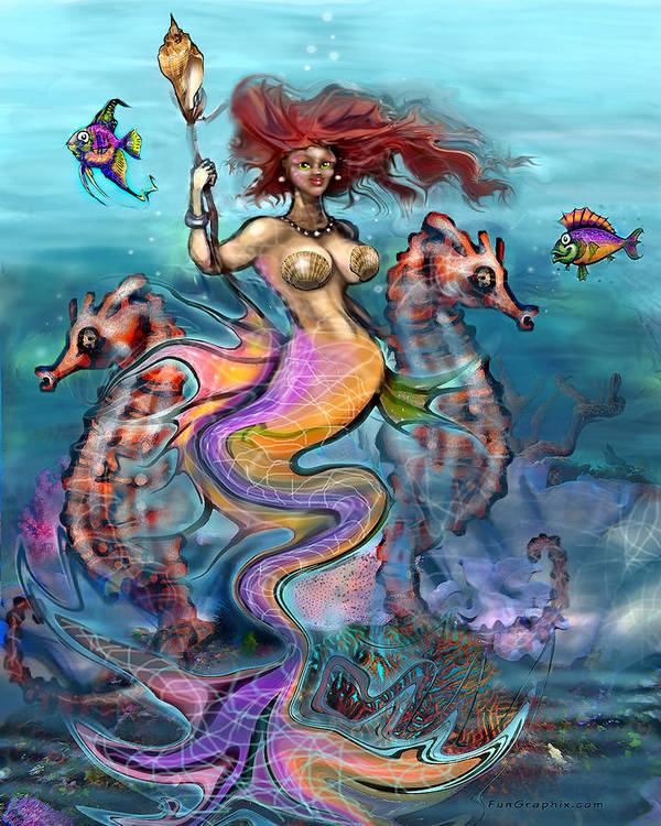 Mermaid Poster featuring the painting Mermaid by Kevin Middleton