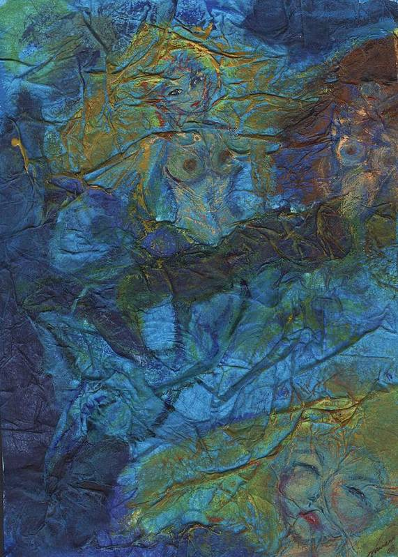 Mermaid Poster featuring the painting Mermaid Musings by Cathy Minerva