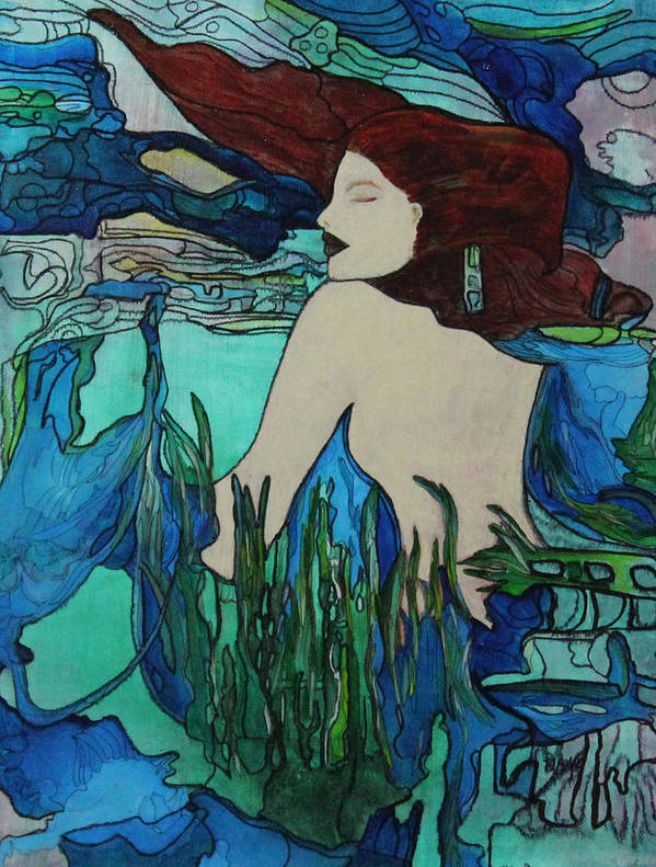 Sea Poster featuring the painting Mermaid Sleeping by Maxine Miller