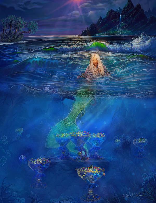 Mermaid Poster featuring the painting Mermaid by Steve Roberts