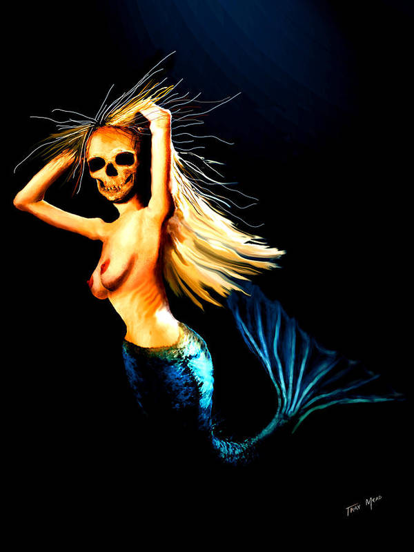 Mermaid Poster featuring the painting Mermaid Witch by Tray Mead