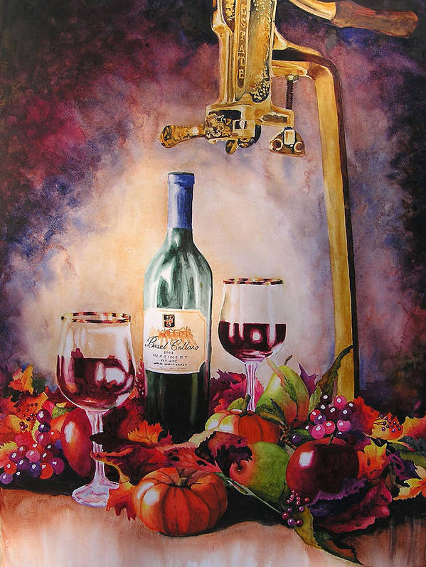 Wine Poster featuring the painting Merriment by Karen Stark