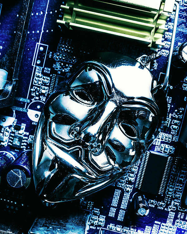 Cyber Poster featuring the photograph Metal Anonymous Mask On Motherboard by Jorgo Photography - Wall Art Gallery