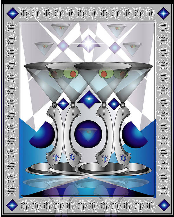 Martini Poster featuring the digital art Metal Martinis by George Pasini