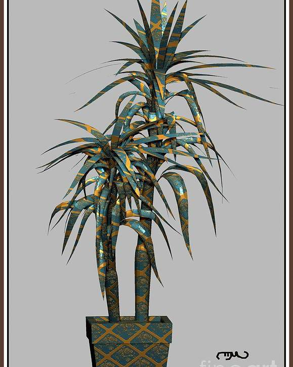Modern Painting Poster featuring the digital art Metal Plant In Pot 4 by Pemaro