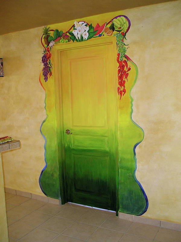Green Poster featuring the painting Mexican Blanket Door Mural by Patty Rebholz