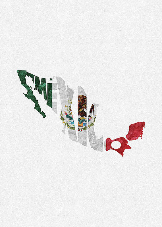 Mexico Typographic Map Flag Poster By Inspirowl Design