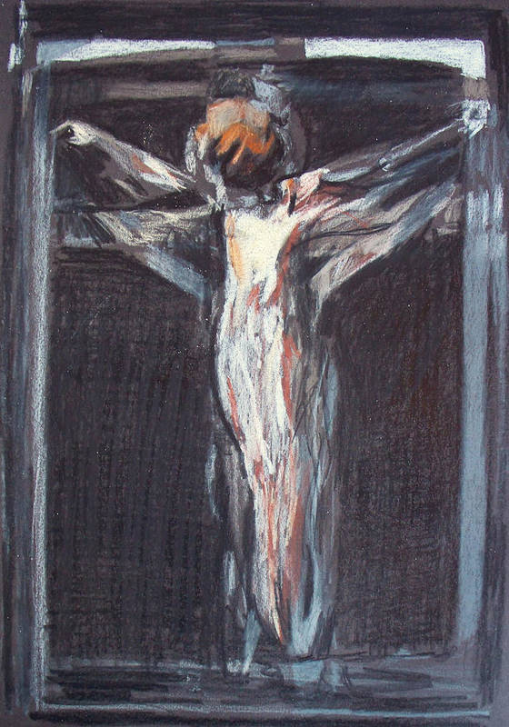 Crucifixion Poster featuring the painting Mhc #100105 by John Warren OAKES