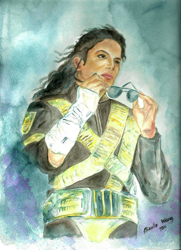 Michael Jackson Poster featuring the painting Michael Jackson - Dangerous Tour by Nicole Wang