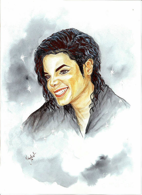 Michael Jackson Poster featuring the painting Michael Jackson - Smile by Nicole Wang