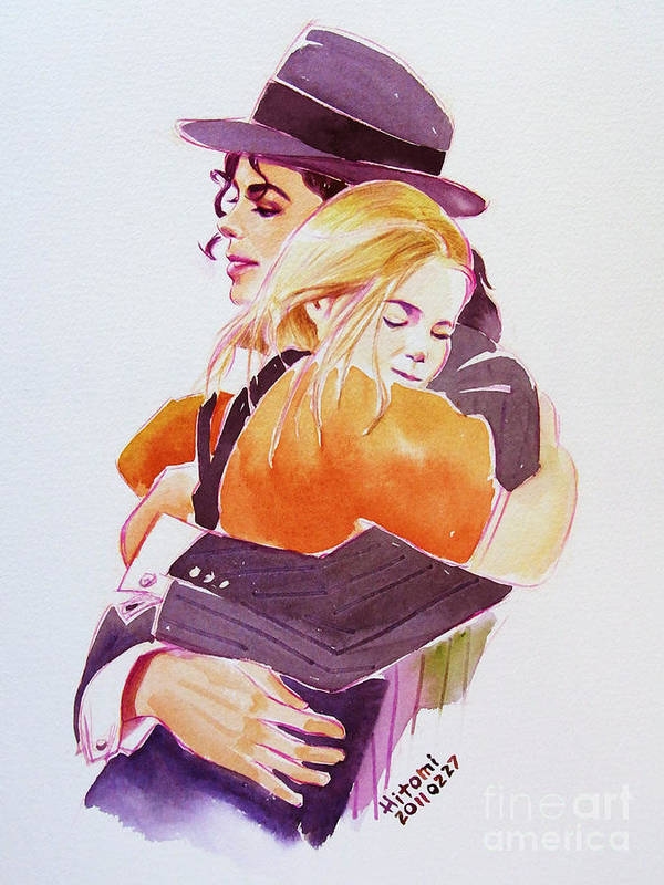 Michael Jackson Poster featuring the painting Michael Jackson - With Katie by Hitomi Osanai